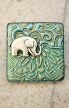 Handmade Elephant Pin Elephant Brooch Sage Green Turquoise by etsy artist singingcatstudio