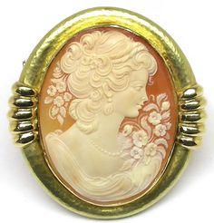18k Yellow Gold Cameo Pin | New York Estate Jewelry | Israel Rose