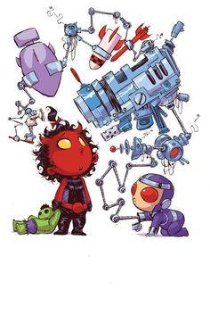 Red She-Hulk vs. Machine Man - Skottie Young