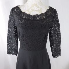 Sheer lace top with 3/4 sleeves, lined at bustline. Rear zipper closure with a sexy keyhole opening, closed with a faux pearl button. Top has some stretch, as does skirt lining, but skirt itself has very little stretch to it. | eBay!