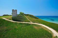 Stavronikita Tower in Sani, Halkidiki, Greece Greece Sightseeing, Thessaloniki, Archipelago, The Locals, Touring, Country Roads, Landscape, World, Nature