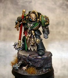 Chaplain, Dark Angels, Display, Games Workshop, Non-Metallic Metal, Propainted, Terminator Armor, Warhammer 40,000, Warhammer Fantasy