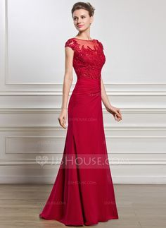Sheath/Column Scoop Neck Floor-Length Ruffle Beading Appliques Lace Sequins Split Front Zipper Up Cap Straps Sleeveless No 2015 Burgundy Spring Summer Fall General Plus Chiffon Mother of the Bride Dress