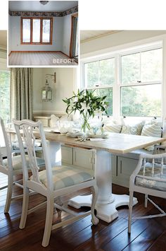 Turn kitchen cabinets into a custom banquette in your eat-in kitchen. Youll create more space, seating and lots of extra storage. Its the perfect place to store bulky serving pieces that are used only occasionally.