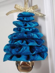 Shades of Blue Plaid Print Jingle Bell Yo Yo Christmas Tree Ornament