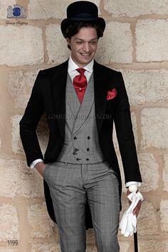 Italian bespoke black wedding morning suit, gray fil a fil pants style 1191 Ottavio Nuccio Gala, 2015 Gentleman collection.