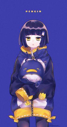"""椿つばる on Twitter: """"ペンギン好きちゃん🐧… """" Anime Girl Cute, Kawaii Anime Girl, Anime Art Girl, Anime Neko, Manga Anime, Persona Anime, Arte Do Kawaii, Loli Kawaii, Anime People"""