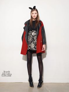 Leather Sleeve Color Block Coat in Red // Storets.com // #Biker