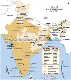 Map of Top Ten States of India with Highest GDP Shares