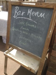 Bar Menu for our engagement party