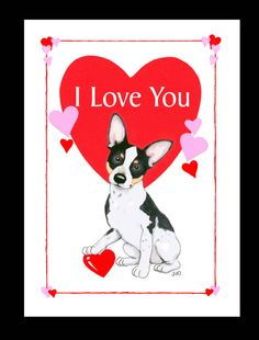 Rat Terrier Valentine Card.