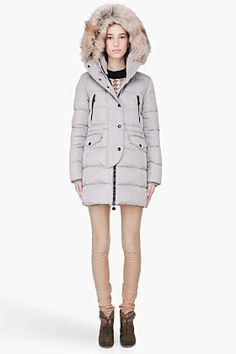 MONCLER Grey Raccoon Fur Hood Fragon Coat