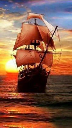 ... Pirate Ship Tattoos, Boat Wallpaper, Old Sailing Ships, Night Scenery, Sailboat Painting, Ship Drawing, Ship Paintings, Wooden Ship, Universe Art