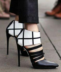 Ayakkabı, topuklu, siyah, beyaz
