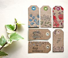 6 Tag unique gift hand-painted  set Botanical by Cestinodimirtilli