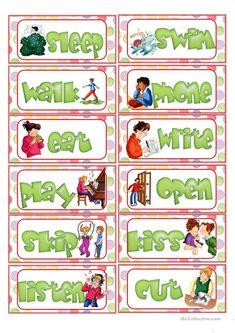 Action Verb Flashcards worksheet - Free ESL printable worksheets made by teachers