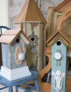 Birdhouses - salvaged wood trim, doorknobs, knockers, & finds