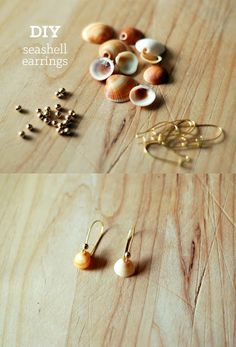 How to make dangle earrings from seashells and gold bead, very simple tutorial