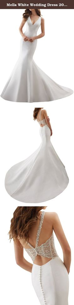 Mella White Wedding Dress 2017 for Bride Sheath V-neck Satin Sleeveless US14. Mella Wedding Dress 2017 for Bride Sheath V-neck Satin Sleeveless The Perfect Combination of Simple and Chic, This Larissa Satin Fit & Flare Wedding Dress Features Stunning Crystallized Back Detail. Covered Buttons Trim the Back and Train. Made to Measure Service (Limited Time Offer for Free): Custom Size Service available. Please send us your detailed size: Bust, Waist, Hips and Hollow to Floor.(Refer to the...