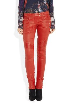 Balmain|Quilted-panel leather skinny pants