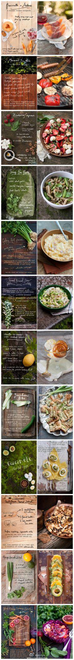 Erin Gleeson开设了一个叫 'The Forest Feast'的博客,她把美食照片作为背景图片,手写食谱于上。这些食谱的排版方式非常清新可人。(