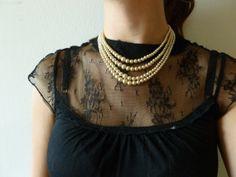 Vintage Pearl Necklace with Rhinestone Clasp Elegant Multi Strand