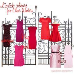 """""""Lipstick colours for Clear Winters"""" by carolgrant on Polyvore"""