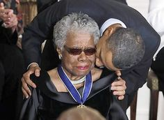 President Obama kisses poet Maya Angelou after conferring the Medal of Freedom -- the nations top civilian honor