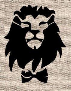 Lion with Bowtie Stencil
