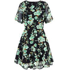 Mela Loves London Hi Low Floral Print Day Dress (52 CAD) ❤ liked on Polyvore featuring dresses, green, women, green dress, high low dresses, skater dress, flower print dress and black dress