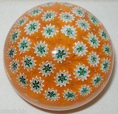 Fratelli Toso MURANO Star Shape MILLEFIORI Flowers PAPERWEIGHT Art Glass VINTAGE