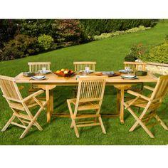Table de jardin en teck rectangulaire extensible 180-240cm SUMBARA - Maison Facile : www.maison-facile.com