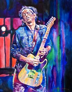 """#Keith_Richards  """"It's more difficult to do -- to leave the white paper. Certainly it's easier to paint with opaque medium. If you make a mistake, you paint over the mistake. But using the paper's white you're able to achieve the brightest, the highest of whites and it seems as if the painting is lit from behind. #Rolling_Stones"""