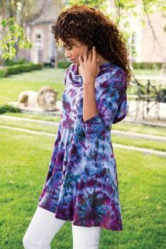 Harmony Tunic - Cowl Neck Tunic, Tie-dyed Tunic | Soft Surroundings