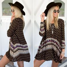 Women-Vintage-Retro-Bohemian-Style-Boho-Summer-Beach-Long-Sleeve-Mini-Dress