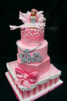 Different Barbie cake. Topper is not my style but would be a great place for a barbie toy. Crazy Cakes, Fancy Cakes, Cute Cakes, Pretty Cakes, Bolo Barbie, Barbie Cake, Pink Barbie, Unique Cakes, Creative Cakes