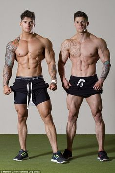 Bodybuilding twins Lewis, left, and Owen, right, Harrison boast identical 44 inch chests, 18 inch arms and 32 inch waists