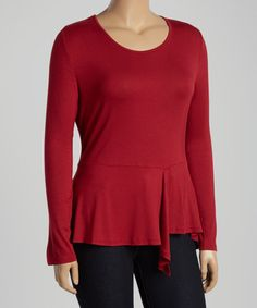 Look what I found on #zulily! Burgundy Ruffle Long-Sleeve Top - Plus #zulilyfinds $17.99