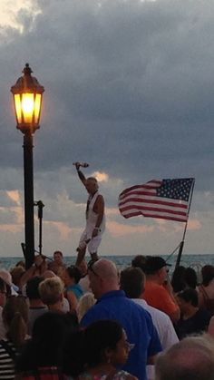 Key West Sunset. Our own Will Soto, senior citizen tight rope walker still does it best. We love you Will!