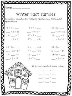 Winter Math Warm-Ups - 16 pages of math practice 1st or 2nd graders. Great for morning work or math centers during winter. Answer key included.