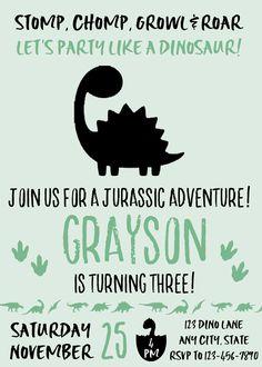 Dinosaur Invitation, Dinosaur Birthday Invitation, Dinosaur Birthday Party, Dinosaur Printable Invitation, Dinosaur Invite, Boy Birthday