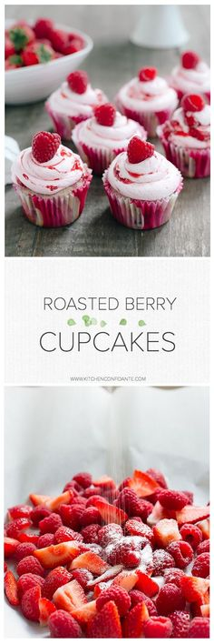 Roasted Berry Cupcakes | www.kitchenconfidante.com | Swirls of sweetly roasted berries add richness to these light cupcakes!