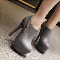 Women's Shoes Stiletto Heel Round Toe Heels Casual Black / Gray 2016 - €29.39