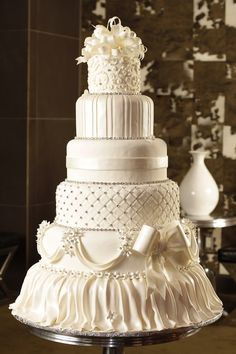 Wedding Cake: Lovely Cake Boss Wedding Cakes Collection, Gorgeous Vintage 6 Tier White Fondant with Elegant Diamonds Wedding Cake