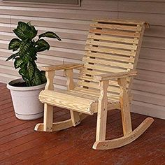 chairs - Amish Heavy Duty 600 Lb Roll Back Pressure Treated Rocking Chair With Cupholders (Unfinished) Walmart com Outdoor Wicker Patio Furniture, Patio Furniture Sets, Pallet Furniture, Furniture Plans, Rustic Furniture, Outdoor Chairs, Outdoor Dining, Furniture Buyers, Furniture Removal