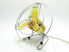 Vintage BJM Desk Fan / Retro Italian / Yellow Electric by bacpaso