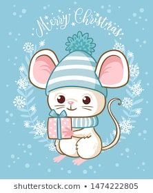 christmas cartoon Cute white little mouse is holding a New Years gift. Vector illustration on the Christmas theme with a cartoon rodent. Christmas Cartoons, Merry Christmas Card, Christmas Night, Christmas Cookies, Christmas Activities, Christmas Themes, Gift Vector, Diy Crafts To Do, Kawaii Art
