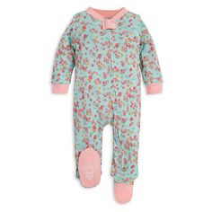 Organic Baby, Organic Cotton, One Piece Pajamas, Newborn Essentials, One Piece Outfit, Burts Bees, Ditsy Floral, Baby Size, Unisex Baby