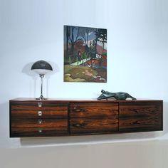 Robert Heritage rosewood wall mounted sideboard