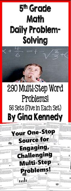"BUNDLE! 5th Grade Multi-Step Daily Problem-Solving, 56 sets (five in each set), 290 Multi-step Problems! Ten months of multi-step problem solving word problems. Great for no-prep ""daily"" multi-step problem solving or for use anytime as an entire set. Excellent for math journals. The problems include basic operations, decimals, fractions, measurement units and conversions, geometry and more!$"